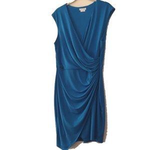 Sleeveless knit dress turquoise